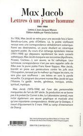 Lettres à un jeune homme ; 1941-1944 - 4ème de couverture - Format classique