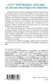 La Ve République, 1958-2008 ; 50 ans de politique de défense - Couverture - Format classique