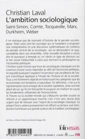 L'ambition sociologique ; Saint-Simon, Comte, Tocqueville, Marx - 4ème de couverture - Format classique