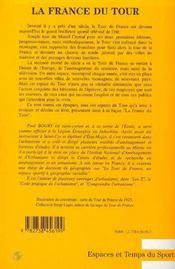 La France Du Tour ; Le Tour De France, Un Espace Sportif A Geographie Variable - 4ème de couverture - Format classique