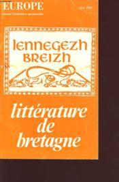 LITTERATURE DE BRETAGNE n 225 - Couverture - Format classique