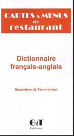 Cartes et menus de restaurant ; dictionnaire de traduction en anglais - Couverture - Format classique