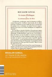 Le train d'Erlingen ou la métamorphose de Dieu - 4ème de couverture - Format classique