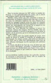 Sociologie De La Secularisation ; Etre Sans Religion En France A La Fin Du Xx - 4ème de couverture - Format classique