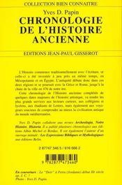 La Chronologie De L'Histoire Ancienne - 4ème de couverture - Format classique