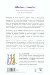 Missions Locales ; Vingt Ans D'Actions Concretes Avec Et Pour Les Jeunes - 4ème de couverture - Format classique
