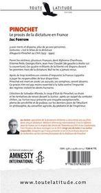 Pinochet ; le procès de la dictature en France - 4ème de couverture - Format classique