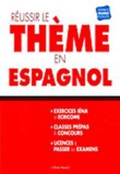 Réussir le thème en Espagnol - Couverture - Format classique