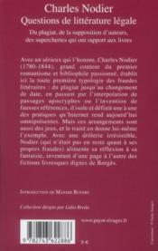 Questions de littérature légale ; du plagiat, de la supposition d'auteurs, des supercheries qui ont rapport aux livres - 4ème de couverture - Format classique