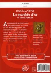 Le scarabée d'or et autres histoires - 4ème de couverture - Format classique