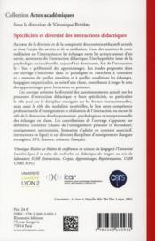 Spécificités et diversité des interactions didactiques - 4ème de couverture - Format classique