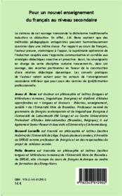 Pour un nouvel enseignement du francais au niveau secondaire - 4ème de couverture - Format classique