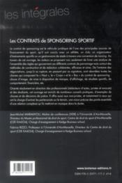 Les contrats de sponsoring sportif - 4ème de couverture - Format classique