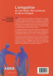 L'empathie au carrefour des sciences et de la clinique - 4ème de couverture - Format classique