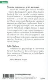 Nous ne sommes pas seuls au monde ; les enjeux de l'ethnopsychiatrie - 4ème de couverture - Format classique