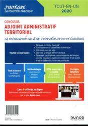 Concours adjoint administratif territorial ; tout-en-un - tout-en-un - concours (édition 2019/2020) - 4ème de couverture - Format classique