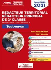Concours rédacteur territorial et rédacteur principal 2e classe ; catégorie B (édition 2021) - Couverture - Format classique