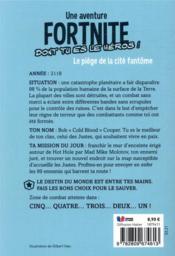 Fortnite ; le piège de la cité fantôme - 4ème de couverture - Format classique