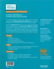 Exercices et méthodes de chimie générale : chimie des solutions (2e édition) - 4ème de couverture - Format classique