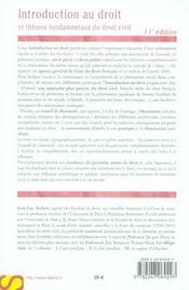 Introduction au droit et thèmes fondamentaux du droit civil (11e édition) - 4ème de couverture - Format classique