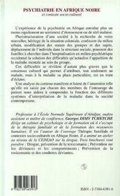 Psychiatrie En Afrique Noire Et Contexte Socio-Culturel - 4ème de couverture - Format classique