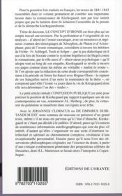 Oeuvres complètes de Soren Kierkegaard t.2 - 4ème de couverture - Format classique