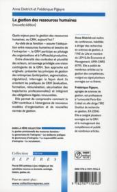 La gestion des ressources humaines - 4ème de couverture - Format classique