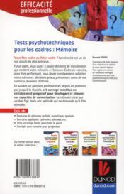 Tests psychotechniques pour les cadres ; la mémoire - 4ème de couverture - Format classique