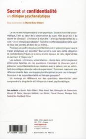 Secret et confidentialité en clinique psychanalytique - 4ème de couverture - Format classique