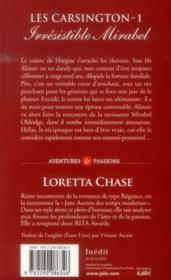 Les Carsington t.1 ; irresistible Mirabel - 4ème de couverture - Format classique