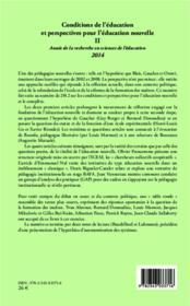 Conditions de l'éducation et perspectives pour l'éducation nouvelle t.2 ; année de la recherche en sciences de l'éducation (édition 2014) - 4ème de couverture - Format classique