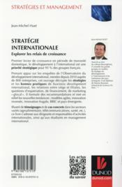 Stratégies d'internationalisation ; explorer les relais de croissance à l'international - 4ème de couverture - Format classique