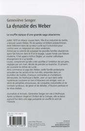 La dynastie des Weber - 4ème de couverture - Format classique