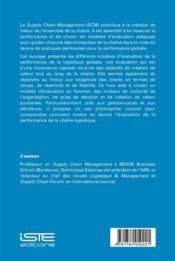 Performance de la Supply Chain et modèles d'évaluation - 4ème de couverture - Format classique