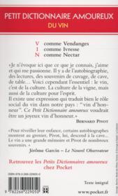 Petit dictionnaire amoureux du vin - 4ème de couverture - Format classique