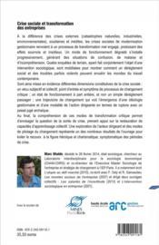 Crise Sociale Et Transformation Des Entreprises - 4ème de couverture - Format classique