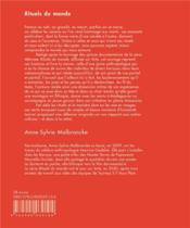 Rituels du monde ; carnet de tournage - 4ème de couverture - Format classique