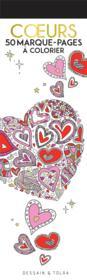 Coeurs : 50 marque-pages à colorier - Couverture - Format classique