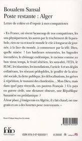 Poste restante : Alger ; lettre de colère et d'espoir à mes compatriotes - 4ème de couverture - Format classique