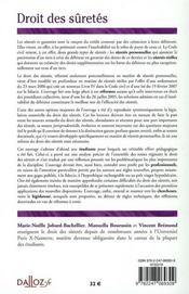 Droit des sûretés - 4ème de couverture - Format classique