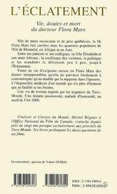L'éclatement ; vie, doutes et mort du docteur flora mars - 4ème de couverture - Format classique