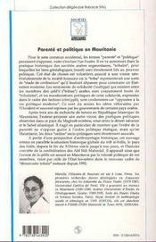 Parenté et politique en Mauritanie ; essai d'anthropologie historique - 4ème de couverture - Format classique