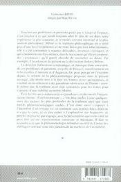 Fragments phénoménologiques sur le temps et l'espace - 4ème de couverture - Format classique