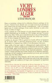 Vichy Londres Alger - 4ème de couverture - Format classique