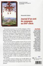 Journal d'un curé de campagne au XVII siècle - 4ème de couverture - Format classique