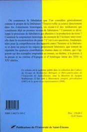 Histoire Et Fabulations - 4ème de couverture - Format classique