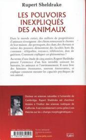 Les pouvoirs inexpliqués des animaux - 4ème de couverture - Format classique
