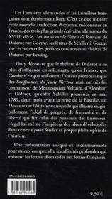 Goethe Schiller Lessing ; écrits sur les Lumières et la philosophie de l'histoire - 4ème de couverture - Format classique