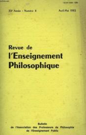 REVUE DE L'ENSEIGNEMENT PHILOSOPHIQUE, 33e ANNEE, N° 4, AVRIL-MAI 1983 - Couverture - Format classique