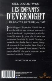 Les enfants d'Evernight t.1 ; de l'autre côté de la nuit - 4ème de couverture - Format classique